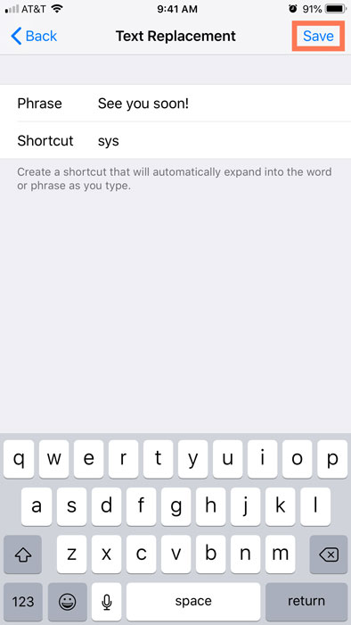 saving the phrase and shortcut