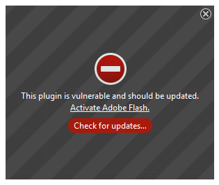 a plug-in error message for Adobe Flash Player