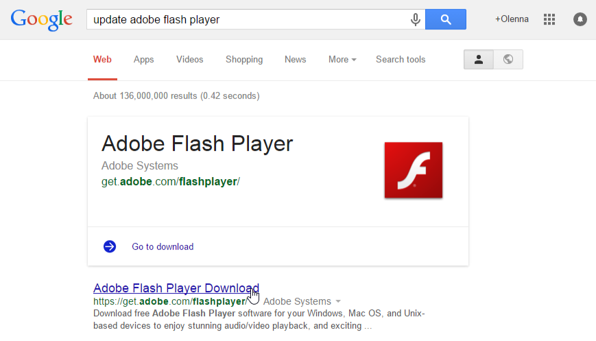 searching for an update to Flash Player