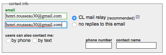 entering a contact email address