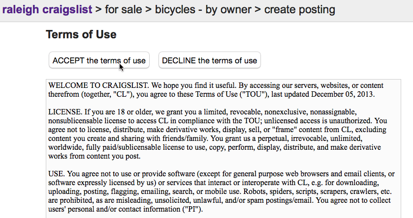 accepting the terms of use for Craigslist