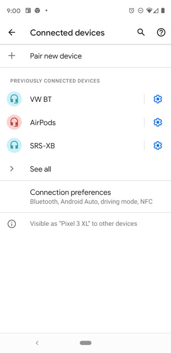 Pairing menu on Android