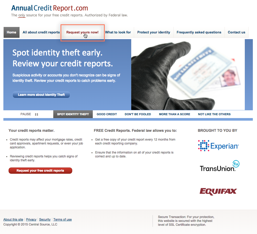 requesting a credit report from www.annualcreditreport.com