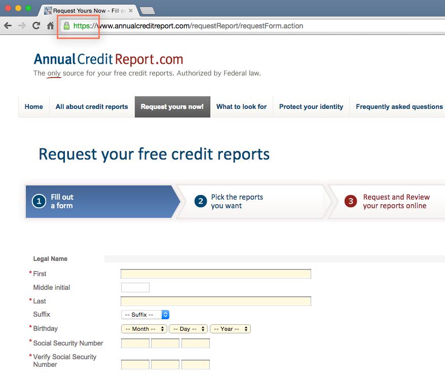 providing basic information to annualcreditreport.com