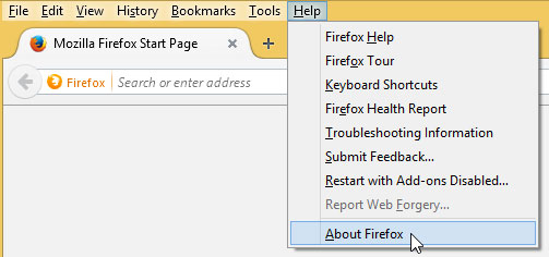 Klikken op Over Firefox