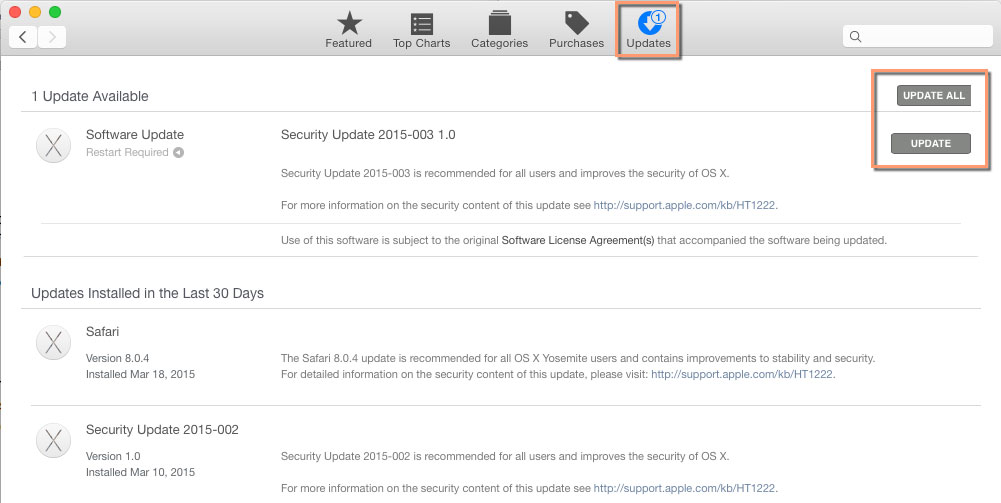 Mac App Store update page