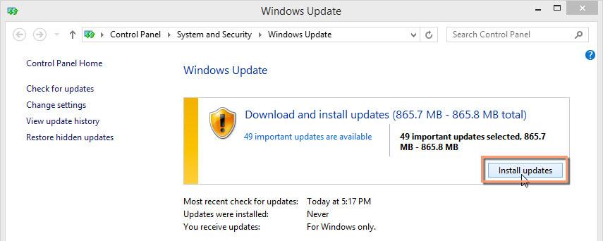 Klik op Updates installeren