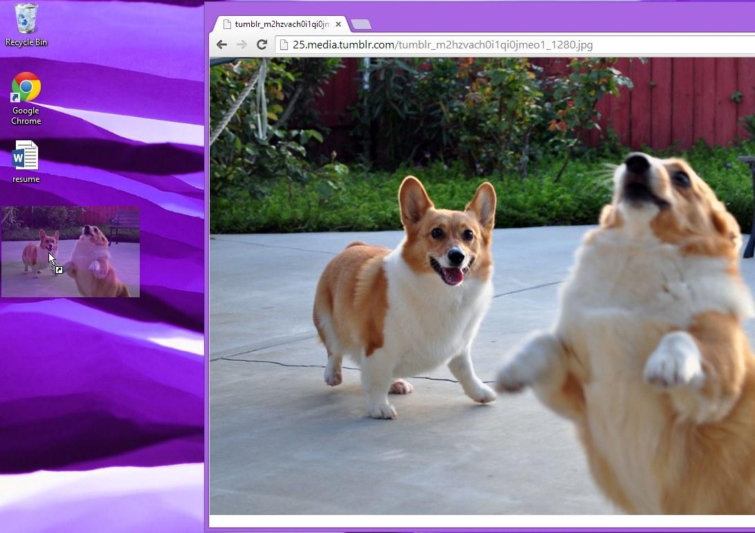 Menyeret gambar ke desktop