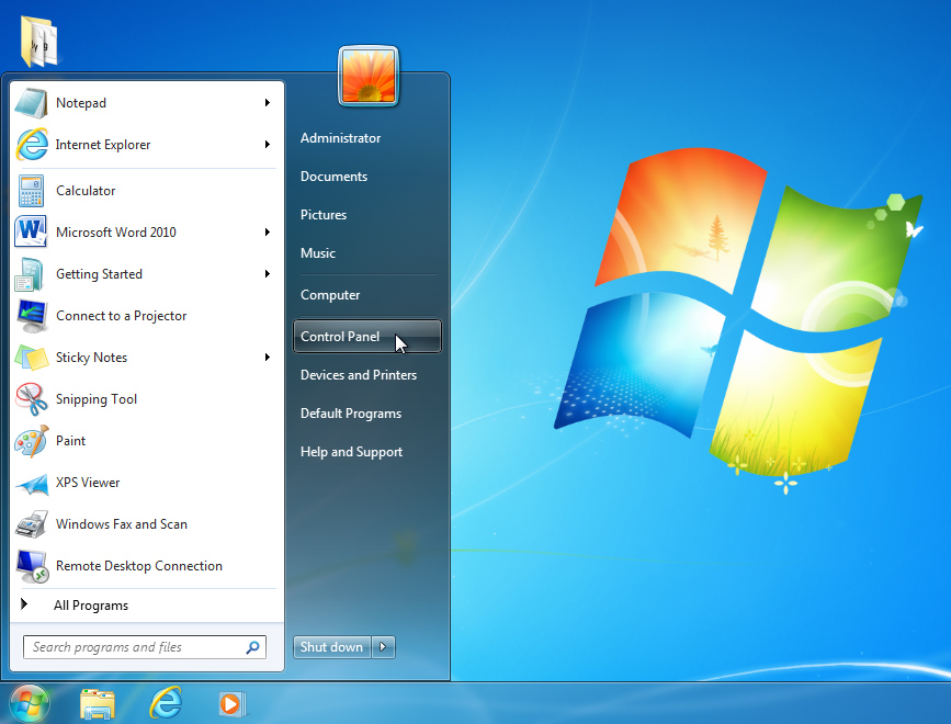 opening the control panel on Windows 7
