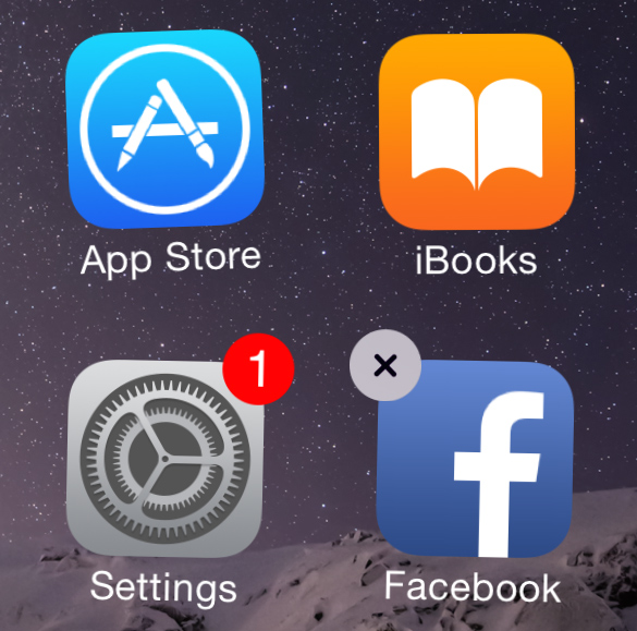 tapping the x to delete an app