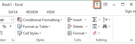 Help button in Excel