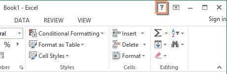 Help-knop in Excel