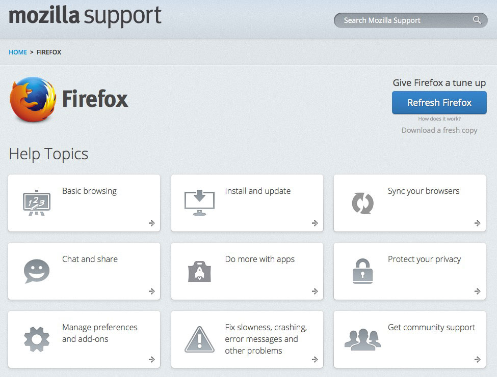 Hjelp side for Firefox