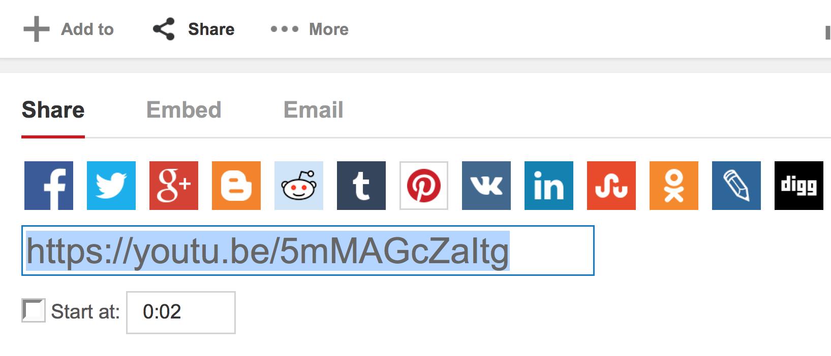 Screenshot of YouTube share options