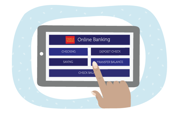 Image of tablet with banking app