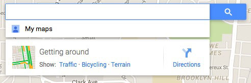 Search bar on Google maps