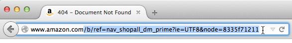 Screenshot of selecting part of URL