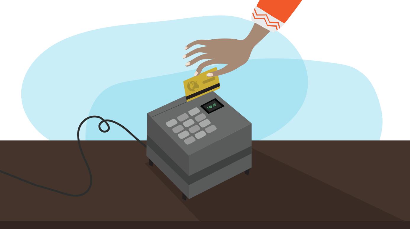 swiping a debit card