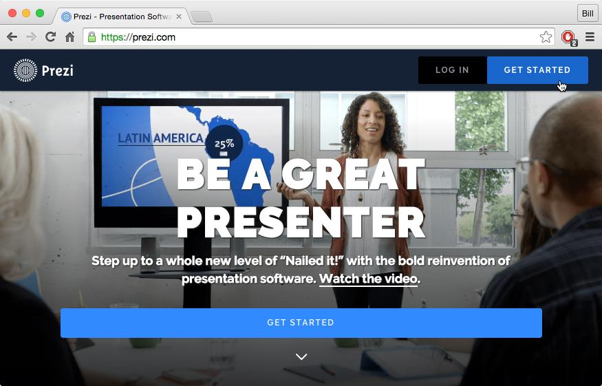the Prezi homepage
