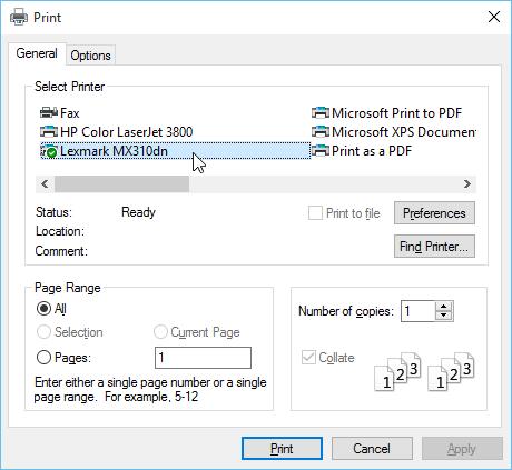 Menggunakan kotak dialog Print