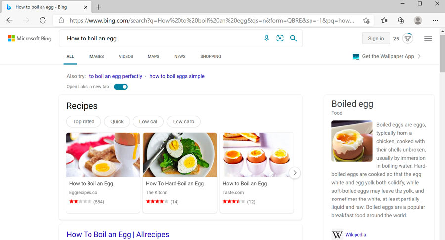search results from using the search bar