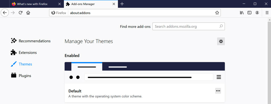 Default browser theme of Firefox