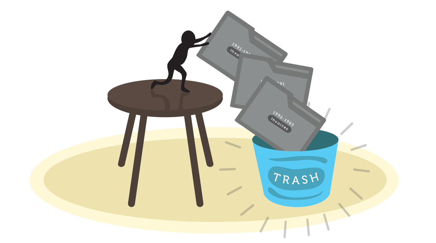 A miniature figure of a person dumping large folders into a trash can
