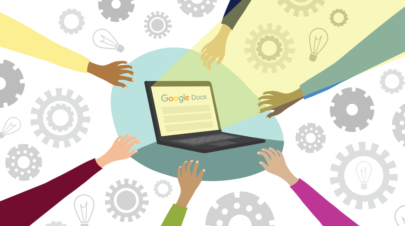 Several hands reaching towards a Google Docs page on a laptop.