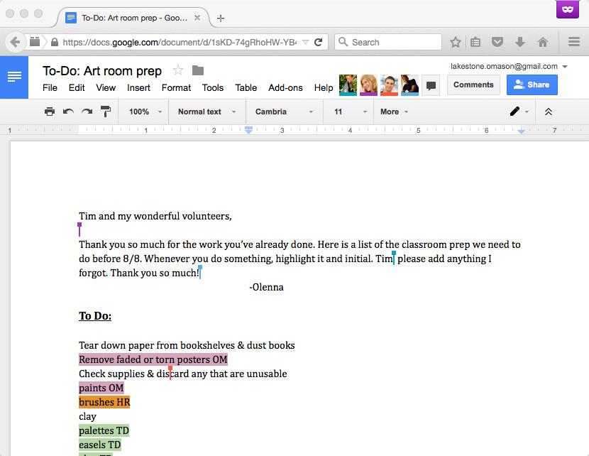 Multiple collaborators in Google Docs