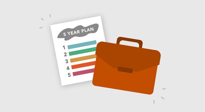A five-year plan with a briefcase
