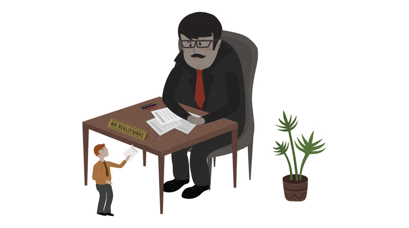 Giving a resume to a giant boss