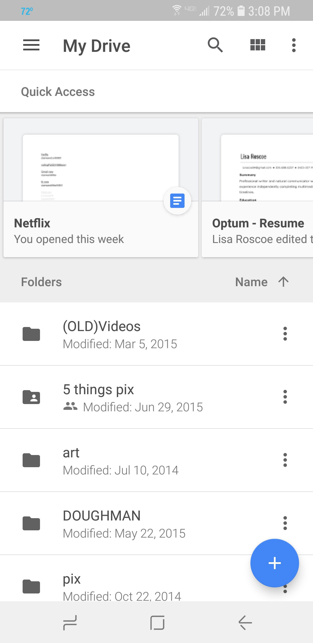 Google drive mobile interface.