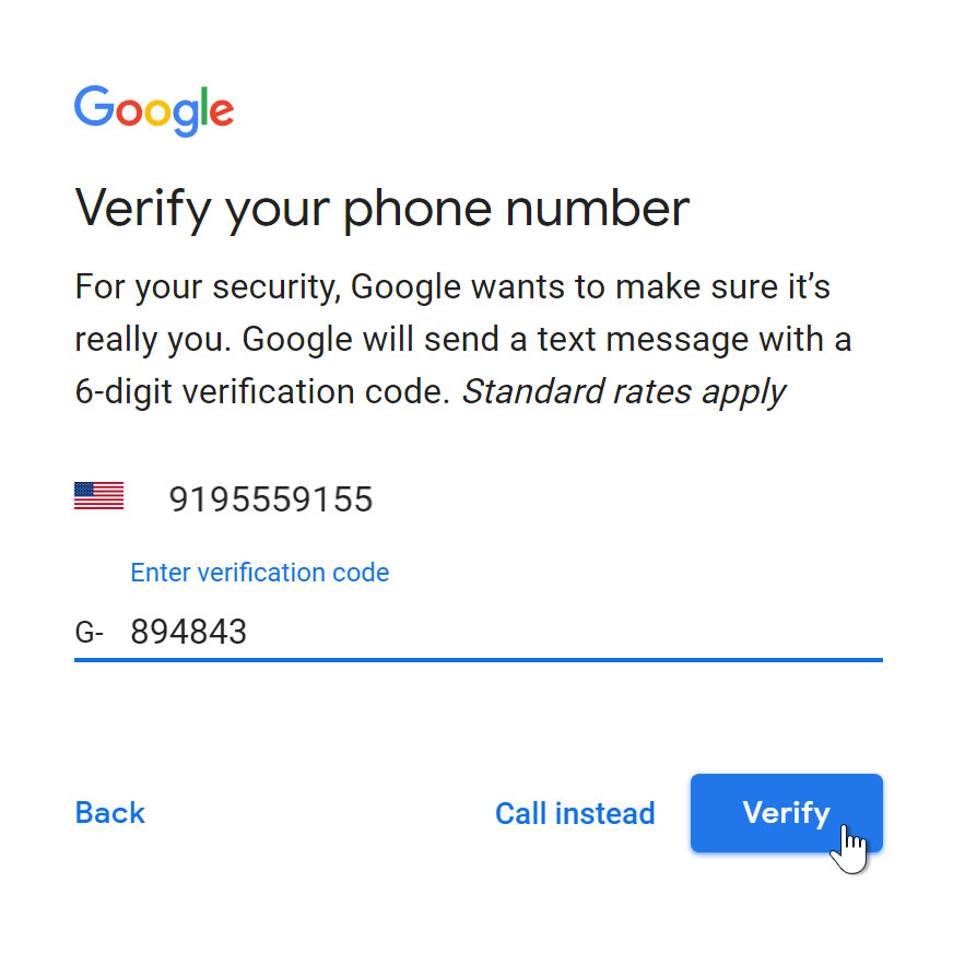Verify phone number with code.
