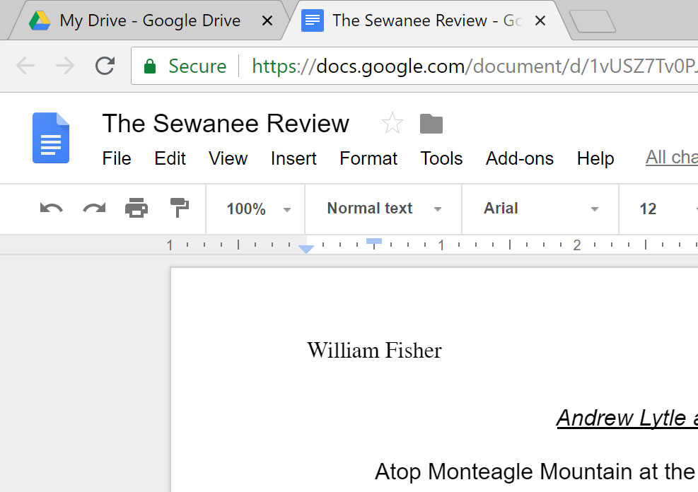 The converted file open in Google Docs.
