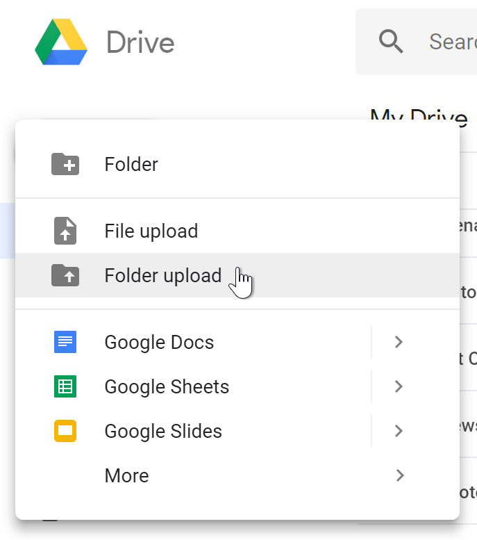 Upload folder to Drive.