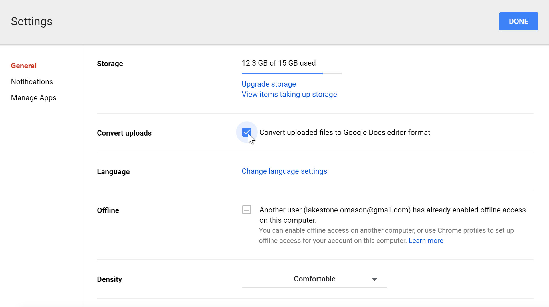 Enabling convert uploaded files in Google Drive settings