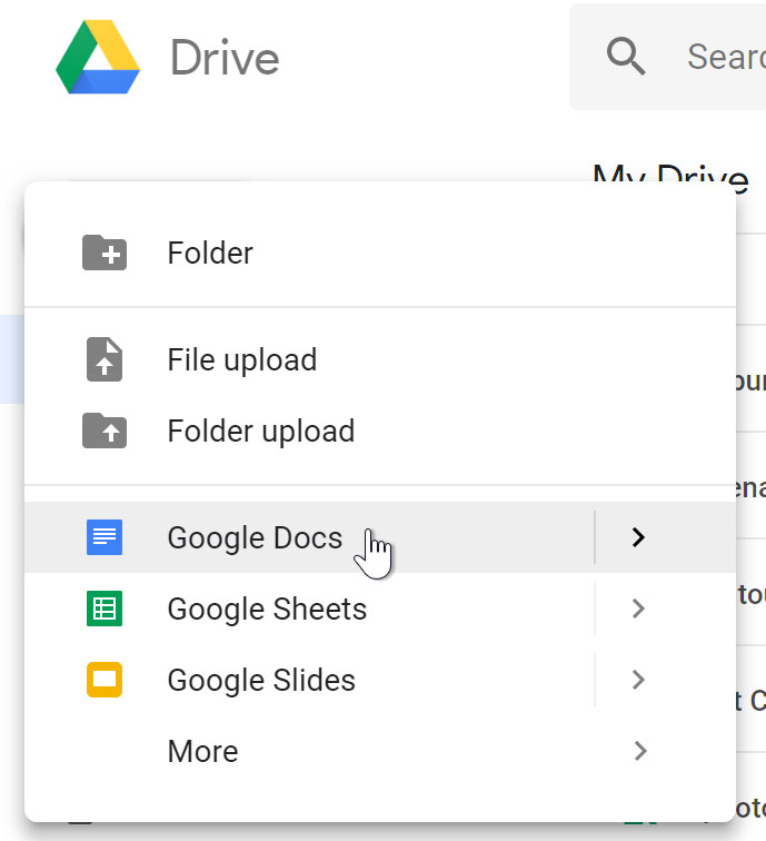 selecting Google Docs from menu