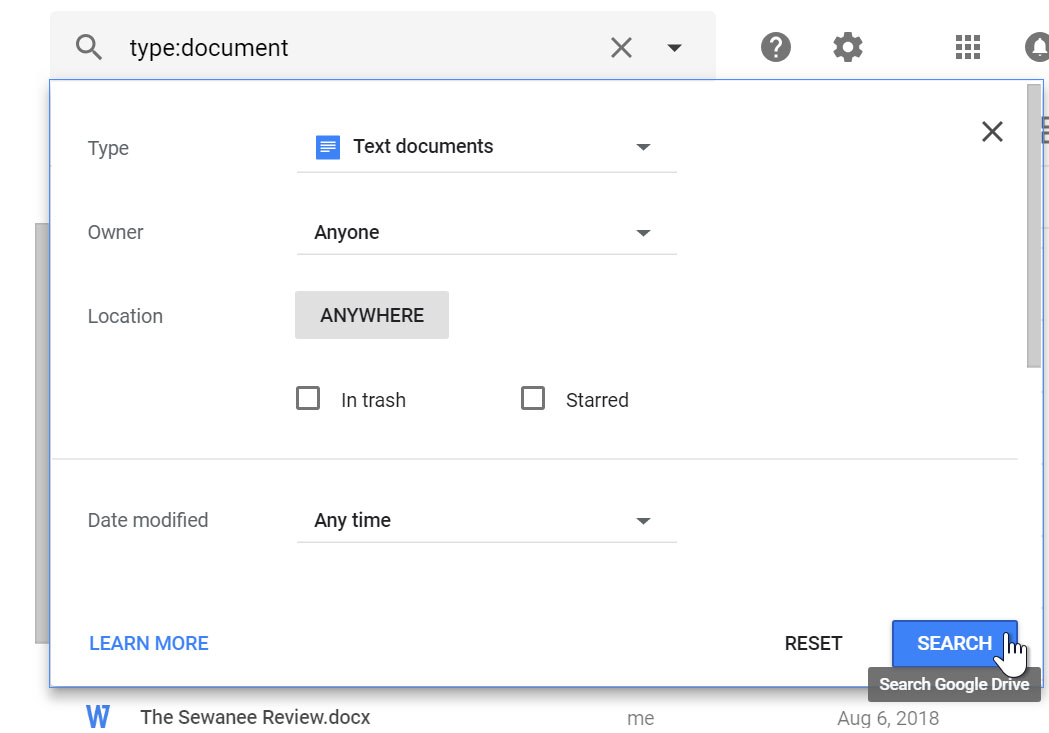 Search type documents.