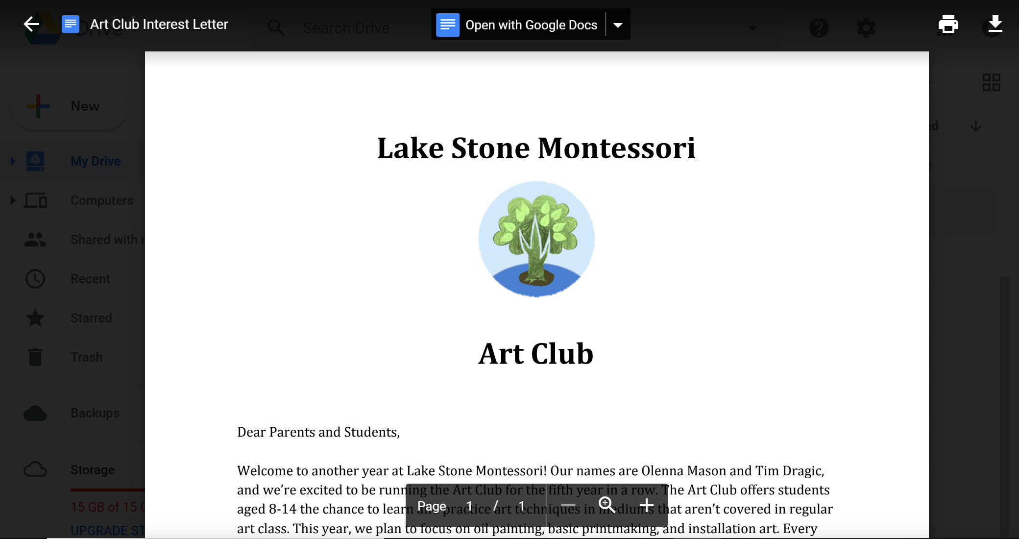 viewing preview of art club document