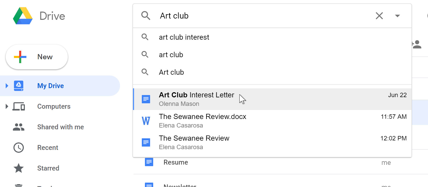 searching for art club files