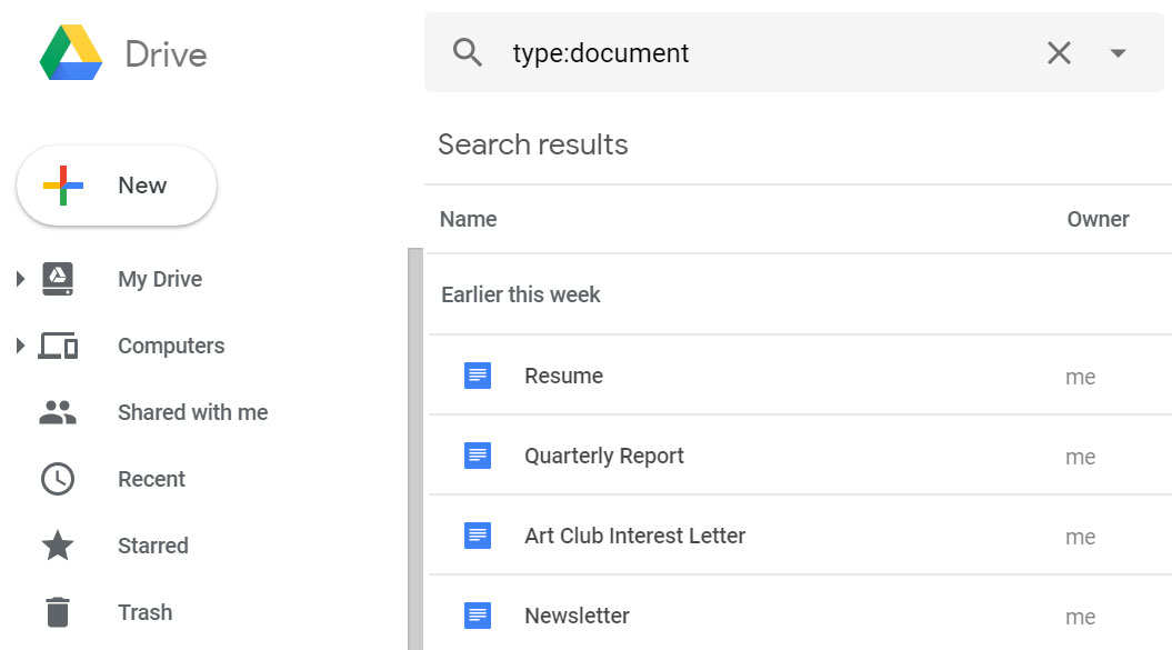 Document search results.