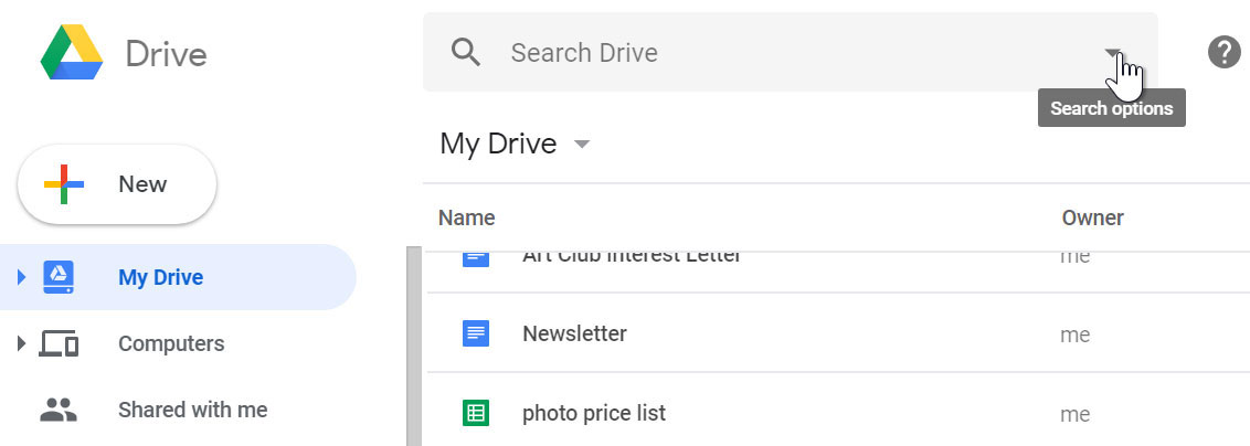 Google Drive search options.