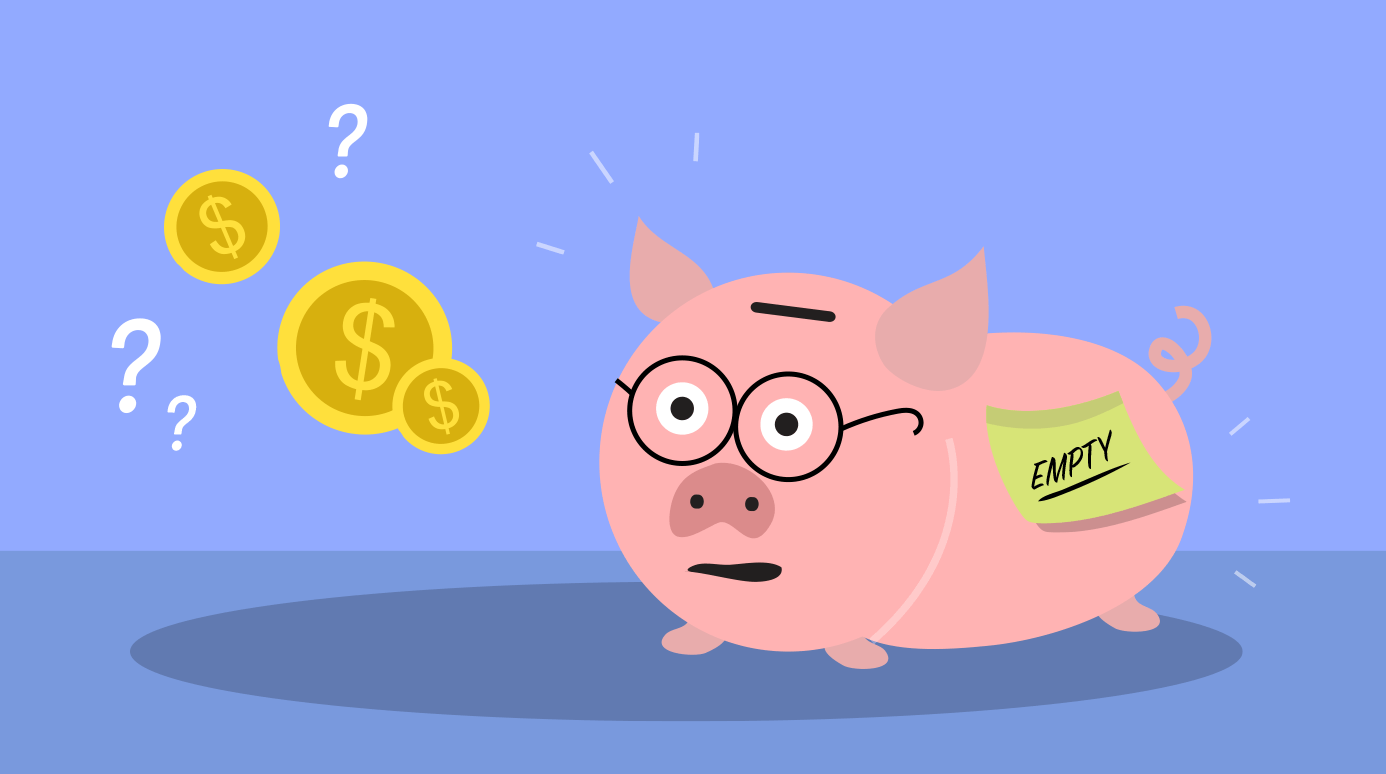 illustration of an empty piggy bank
