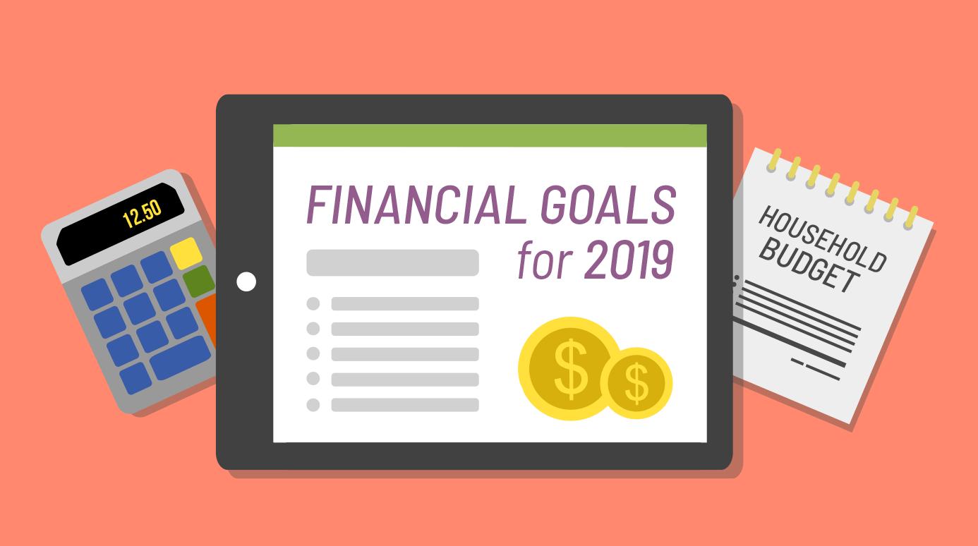 illustration of financial goals on a tablet