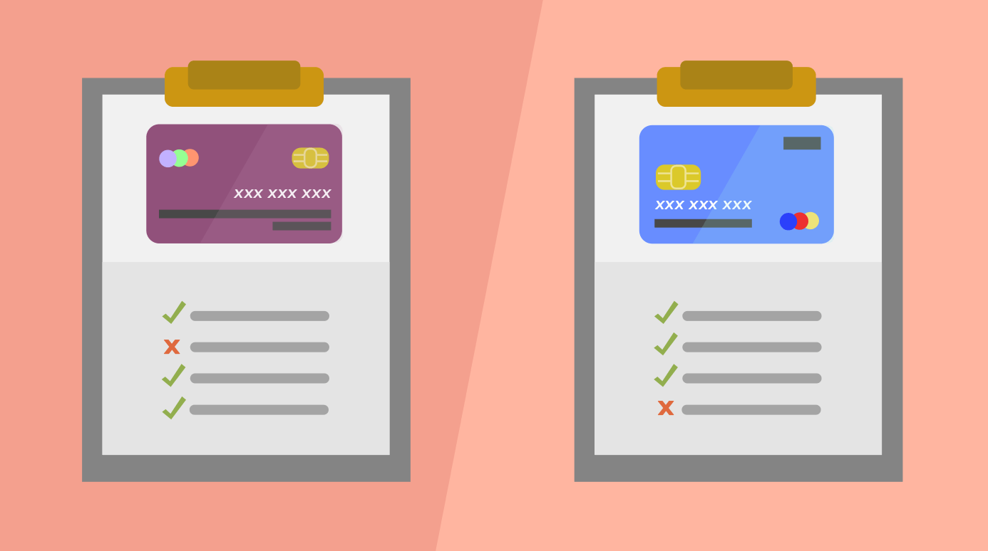 illustration of two credit card options