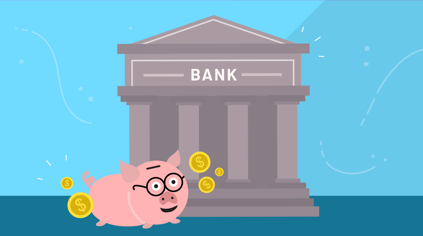 illustration of a piggy bank outside of a bank building