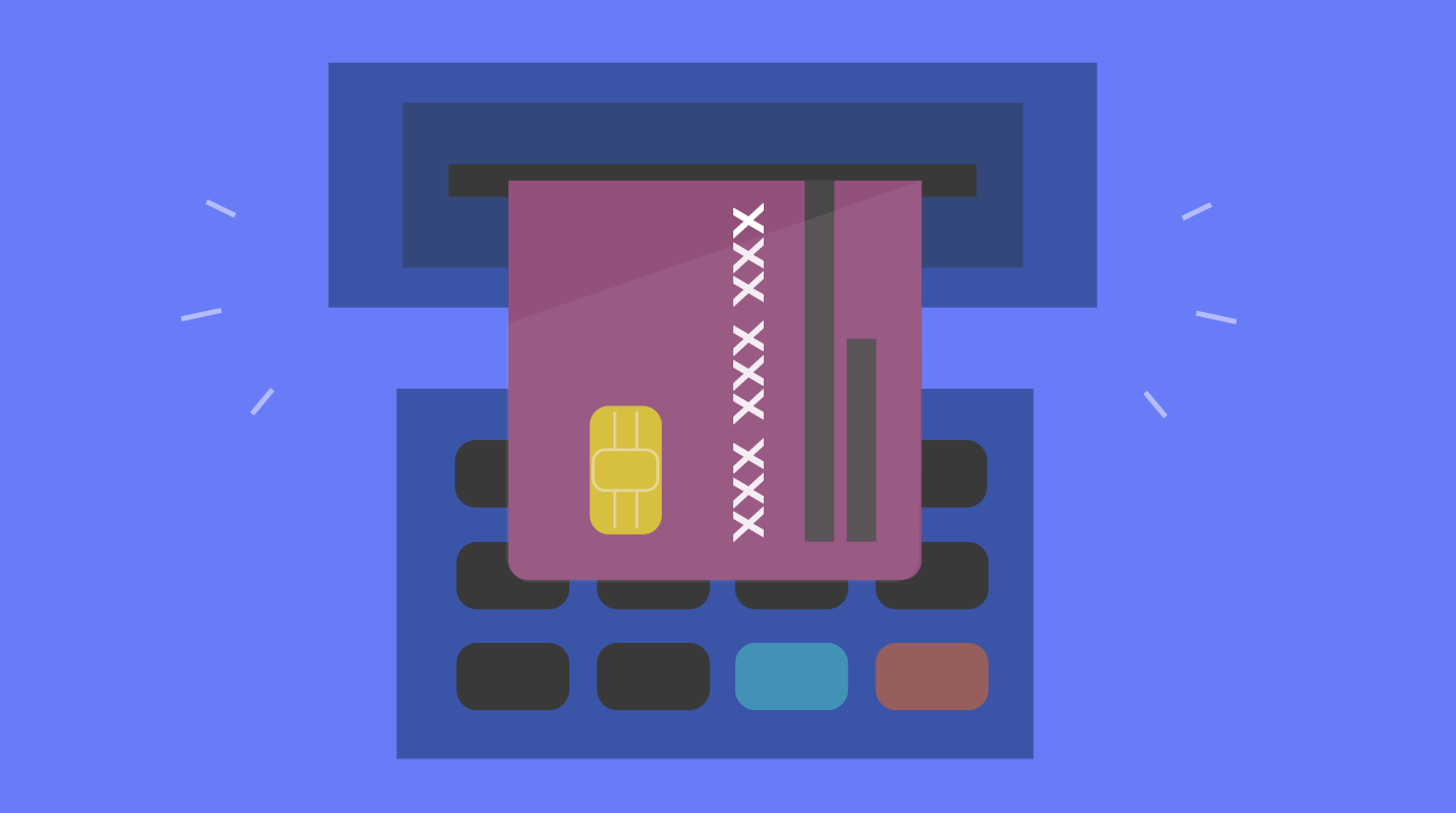 illustration of an ATM card being inserted into an ATM