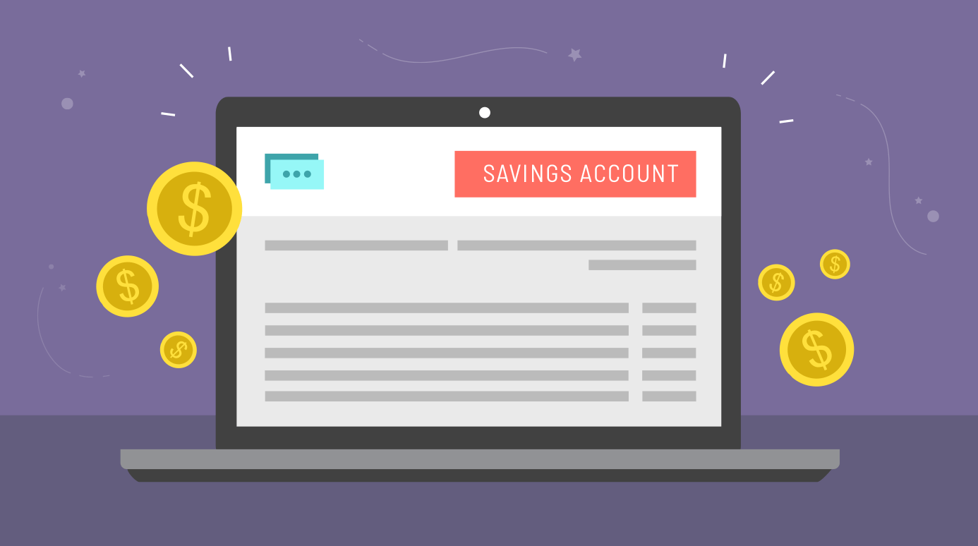 illustration of a savings account on a laptop