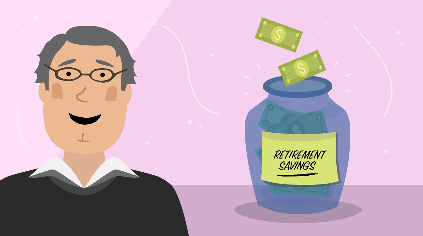illustration of a man with his retirement savings