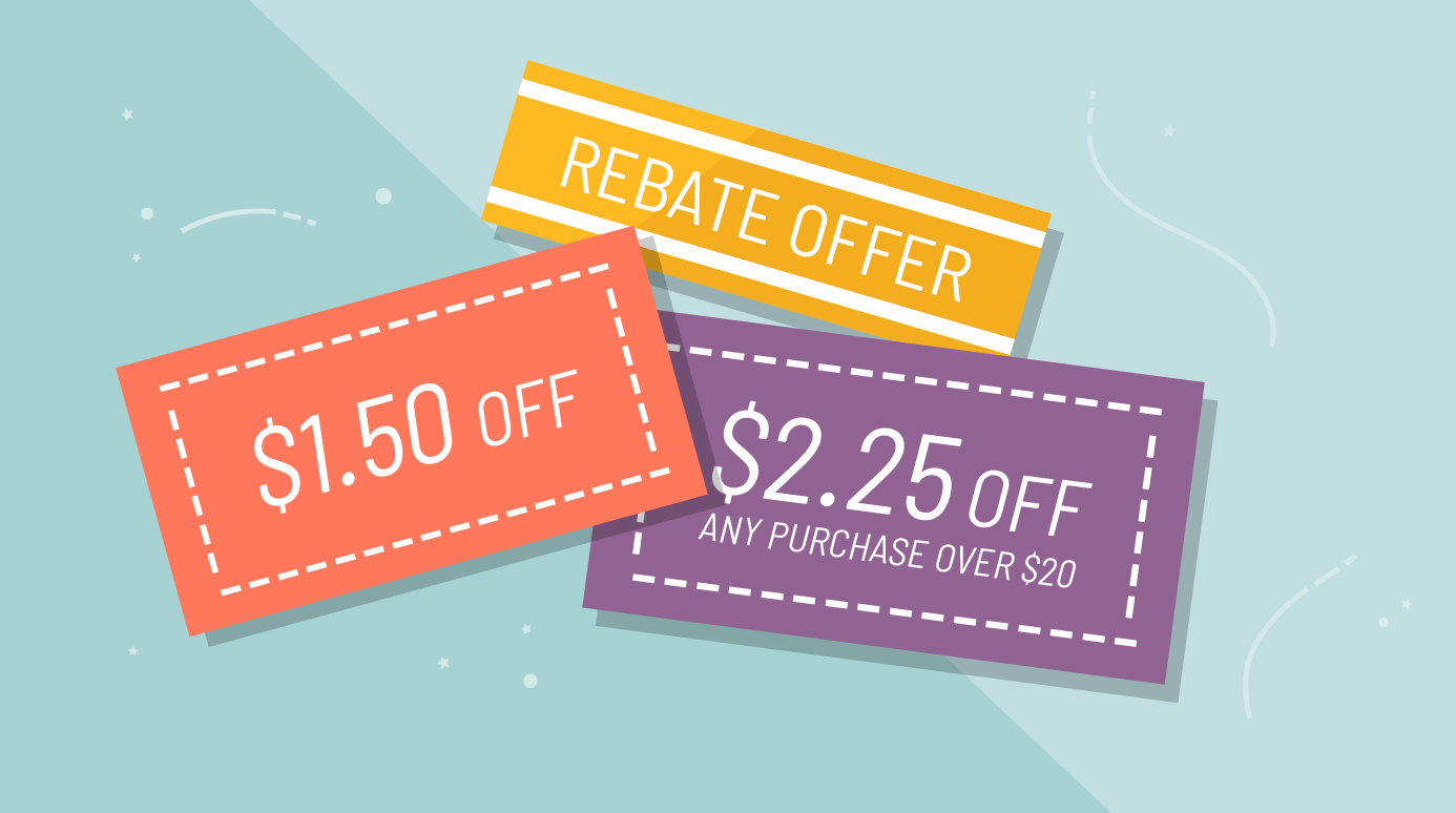 illustration of various coupons and rebates
